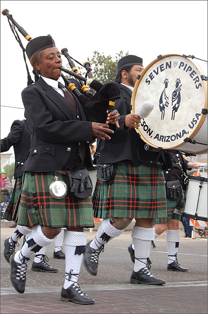 Event photography - Seven Pipers at St. Patrick's Parade, Tucson, Arizona