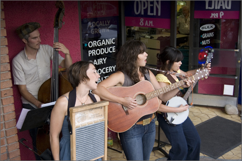 Silver Thread Trio performing at Food Conspiracy Co-op Earth Day celebration, Tucson, Arizona