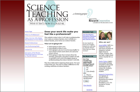 Web Design: Science Teaching as a Profession
